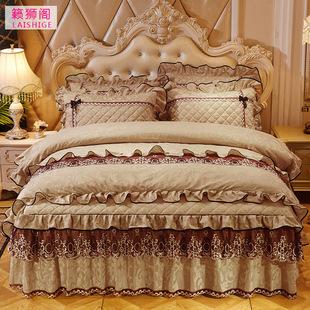 欧式天鹅绒床裙式四件套夹棉加厚床罩4件套秋冬保暖被套床上用品