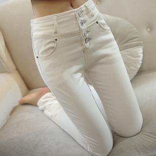 秋冬季白色牛仔裤女 高腰显瘦长裤子 弹力小脚铅笔裤