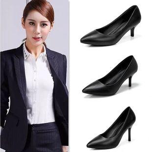 云颖 百丽单鞋尖头中跟职业工作鞋女黑色高跟鞋正装皮鞋小码女鞋