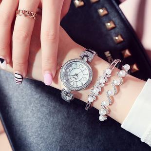 镶钻女士手表套装防水时尚款潮流手链手镯三件套简约女表石英表