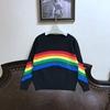 欧美气质款彩虹条纹毛衣女套头金属线彩色拼色长袖针织衫黑白两色