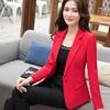 韩国小西装外套女短款显瘦红色长袖高端百搭职业西服上衣