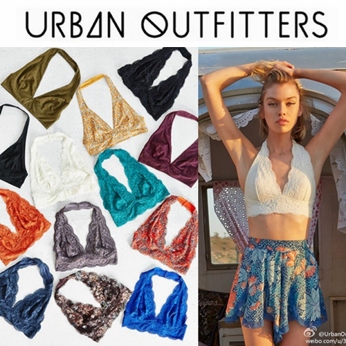 urban outfitters!Lace Bralette!UO挂脖蕾丝无钢圈文胸抹胸衣