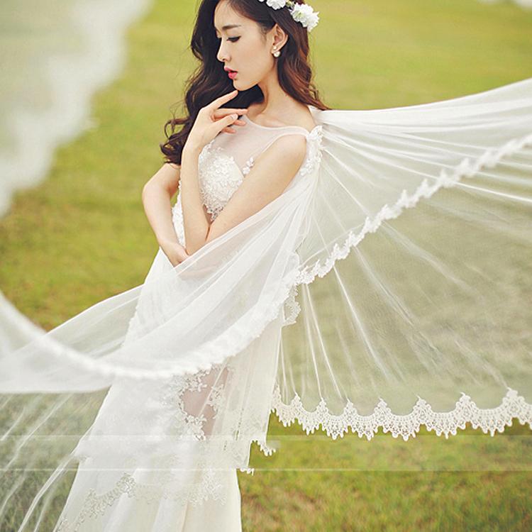 2017年白纱拖尾长飘外景摄影婚纱情侣写真影楼主题服装艺术照婚纱