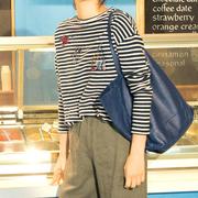 日本高端套头重工手工钉珠毛衣女上衣宽松条纹长袖短款针织衫