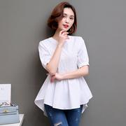 2019春夏宽松短袖衬衫女士中长款套头白色小衫收腰裙摆上衣潮