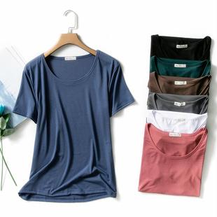 纯色圆领T恤女夏宽松短袖莫代尔外穿上衣体恤显瘦百搭大码打底衫