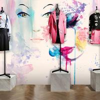 时尚水彩美女化妆品美甲店墙纸密室逃脱服装店橱窗美容美发壁纸