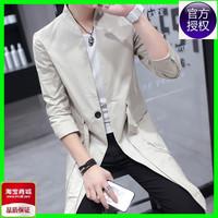 韩版中长款风衣男学生修身大衣外套青年立领秋装发型师夜店演出服
