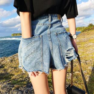 夏装大码胖mm毛边破洞牛仔短裤女200斤高腰宽松显瘦阔腿热裤