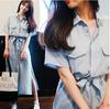 2018夏装胖MM短袖衬衫开叉连衣裙大码系带收腰显瘦长裙女