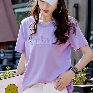 2件69t恤女短袖2019宽松大码胖mm紫色纯棉体恤上衣夏