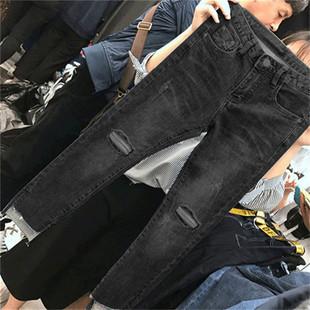 大码牛仔裤女胖mm高腰弹力显瘦破洞九分裤200斤胖妹妹秋装女裤子