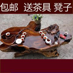 鸡翅木根雕茶台茶海 实木根雕茶几 整体树根茶台功夫茶桌椅组合