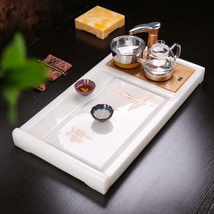 功夫玉石茶盘茶具整套石头茶盘欧式茶台家用排水石茶盘四合一