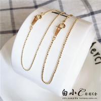 韩国进口纯14K金首饰 超闪金豆豆棱面金珠链条 米珠K黄金手链