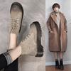 秋冬内增高chic真皮厚底马丁靴女复古系带短靴加绒棉靴英伦风裸靴
