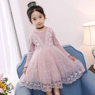 女童连衣裙秋冬装小女孩23中大童4加绒5蕾丝7公主裙子6岁