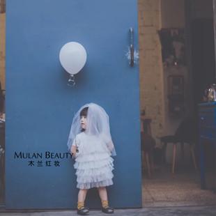 双层儿童头纱白色公主影楼摄影生日花童头纱硬纱蓬蓬纱