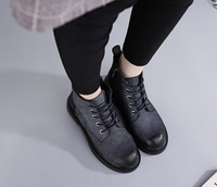 平底鞋短靴侧拉链擦色做旧真牛皮真皮女靴子 牛筋底马丁靴5孔帅气