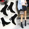 2018秋冬瘦瘦靴弹力靴女中筒袜靴中跟针织袜子靴粗跟高跟短靴