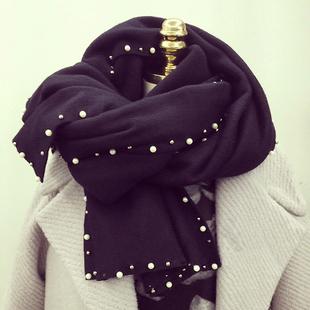 纯色冬天女士披肩加厚保暖冬款黑色珍珠围巾女冬季百搭秋冬韩国长