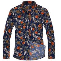 春季碎花长袖衬衫男中青年韩版修身型免烫波点薄款长袖印花衬衣