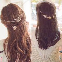 韩国后挂后背式盘发梳头箍发箍韩式女神范蝴蝶花树叶发带