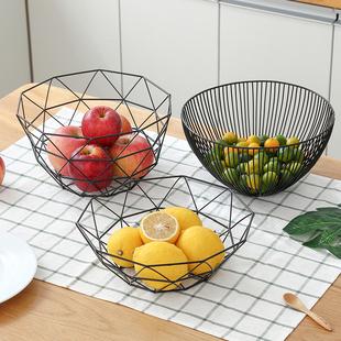 北欧水果盘创意客厅茶几家用欧式沥水果篮简约现代铁艺零食干果盆