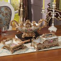 欧式奢华水果盘纸巾盒烟灰缸三件套 手绘创意树脂家居装饰品摆件