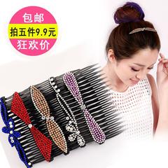 发梳发卡头饰韩国成人水钻发夹百搭防滑插梳刘海梳清新顶夹发饰品