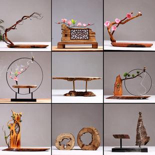 佛像中式木头工艺品创意木雕禅意木制摆件博古架木质复古茶几装饰