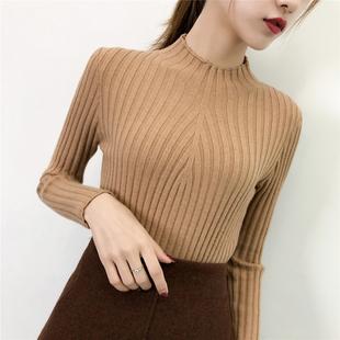 秋冬半高领毛衣女加厚打底衫女装上衣长袖套头针织衫