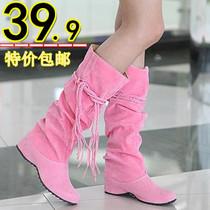 新款包邮甜美公主流苏靴内增高春秋单靴中筒靴中跟马丁靴大码女靴 价格:39.90