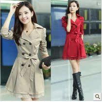 2013新款女装春秋外套韩版长款蕾丝拼接外套修身风衣中长款外套 价格:132.00