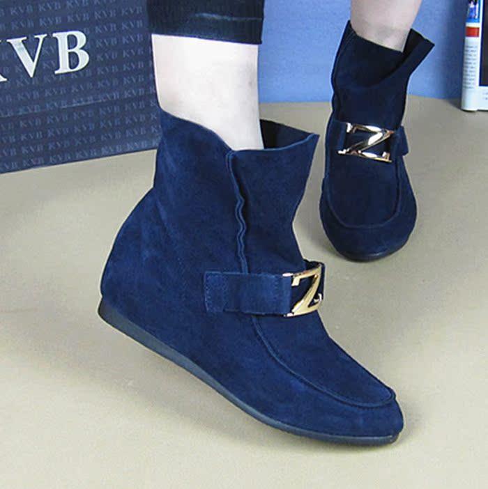 秋季新品牛皮女靴平底短靴 软底休闲鞋坡跟女靴内增高真皮女短靴 价格:158.00
