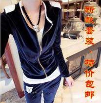 秋装新款韩版天鹅绒运动套装金丝绒卫衣大码休闲运动服两件套女装 价格:79.80