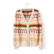 外贸原单女装 MNG甜美提花单排扣修身长袖v领针织开衫毛衣外套 价格:59.99
