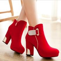 2013秋冬新款防水台粗跟水钻高跟鞋磨砂皮厚底坡跟高跟女靴短靴 价格:145.00