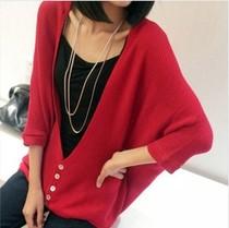 2013秋装衫韩版外套针织衫开衫中长款新款甜美空调宽松蝙蝠袖红色 价格:32.00