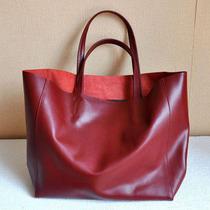 2013新款欧美横版简约大牌牛皮cabas真皮大包购物袋手提单肩女包 价格:188.00