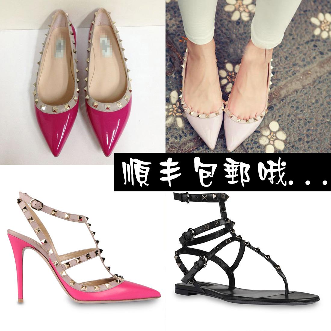V家小辣椒valentino华伦天奴铆钉尖头平底鞋 浅口鞋女士平跟单鞋 价格:399.00