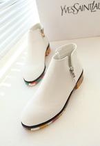 全网独家杭州店 个性侧拉链彩色底短靴 迷彩橡胶底平底鞋单鞋靴子 价格:147.25