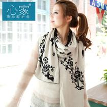 心家 2013新款民族风围巾 女 秋冬 韩版 毛线加厚双面梅花朵图案 价格:39.80
