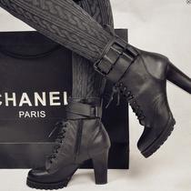 高跟马丁靴!2013新款女鞋春秋 韩佳人粗跟女靴真皮裸靴短靴子包邮 价格:158.00