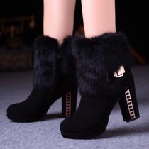 13高跟鞋冬季新款粗跟短靴兔毛防水台踝靴女靴马丁靴大小码女靴 价格:269.00