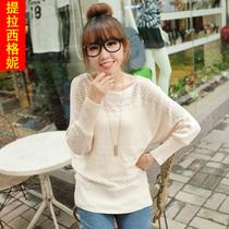 2013秋冬新款宽松显瘦韩版圆领蝙蝠袖套头女装针织衫毛衣 价格:35.90