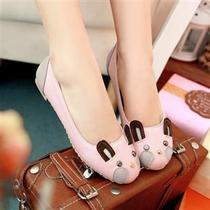 可爱卡通兔子鞋韩版平底鞋平跟鞋圆头公主少女学生单鞋女鞋大码鞋 价格:48.00