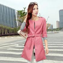 2013秋冬装新款女装韩版修身七分袖中长款皮衣外套 风衣PU皮衣女 价格:175.00