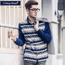 CollegeHome秋装上新自制原创针织拼料灯芯绒长袖衬衫男装衬衣潮 价格:249.00